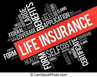collage, vita, parola, assicurazione, nuvola