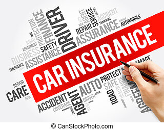 collage, voiture, mot, assurance, nuage