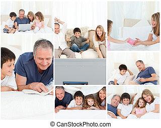 collage, von, a, familie, genießen, momente, zusammen, hause