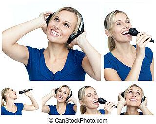 collage, von, a, junge frau, hören musik, und, singende
