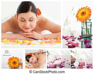 collage, von, a, schöne frau, entspannend, während, annahme, a, massage