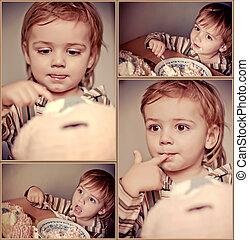 collage, von, babys, feiern, a, geburstag, hause