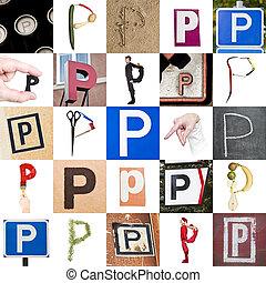 collage, von, buchstabe p