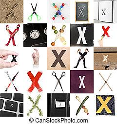 collage, von, buchstabe x