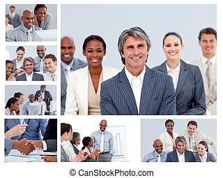 collage, von, businesspeople, in, verschieden, situationen