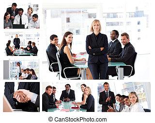 collage, von, businesspeople, in, verschieden, situationen, posierend