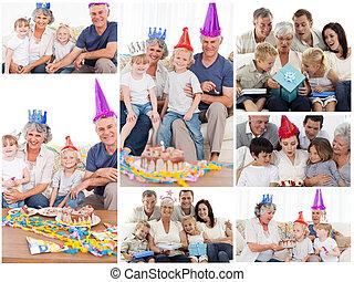 collage, von, familien, genießen, feier, momente, zusammen, hause