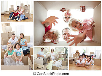 collage, von, familien