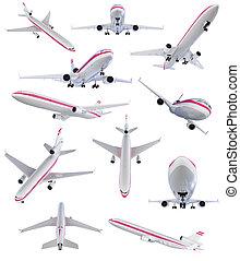 collage, von, freigestellt, motorflugzeug