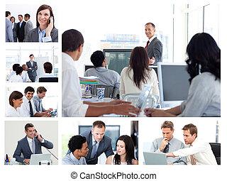 collage, von, geschäftsmenschen, gebrauchend, technologie