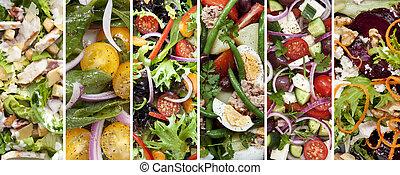 collage, von, gesunde, salate