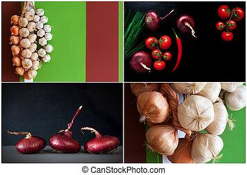 collage, von, gesundes essen, frisch, zwiebel