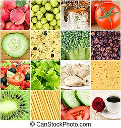 collage, von, gesundes essen, hintergruende