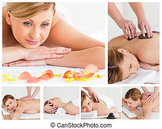 collage, von, junge frau, haben, a, stein, massage