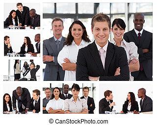 collage, von, junger, businesspeople, in, verschieden, situationen