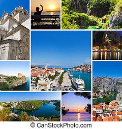collage, von, kroatien, reise, bilder