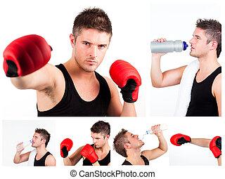 collage, von, mann, boxer, während, boxen, oder, rest haben