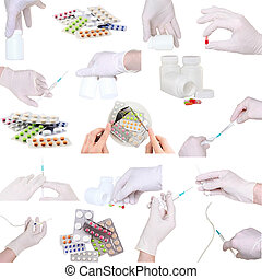 collage, von, medicine-pills, usw.