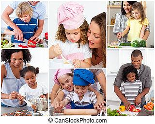collage, von, reizend, familien