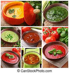collage, von, verschieden, suppen