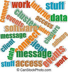 collage, von, verschieden, wörter, auf, a, weißer hintergrund, auf, geschaeftswelt, themen