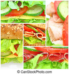 collage, von, viele, verschieden, frisch, sandwichs
