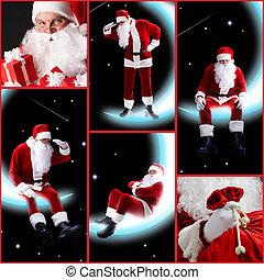 collage, von, weihnachtsmann