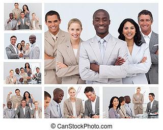 collage, vriendelijk, zakenlui