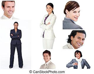 collage, vrolijk, zakenlui