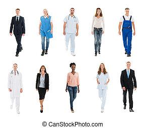 collage, vrolijke , anders, beroepen, mensen