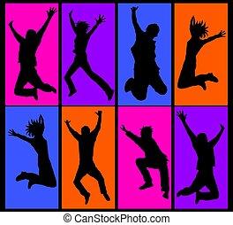 collage, vrolijke , springt, mensen