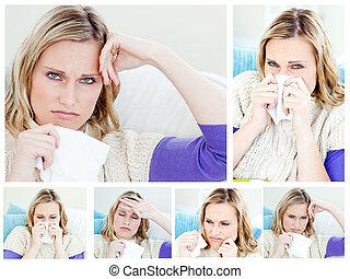 collage, vrouw, jonge, ziek