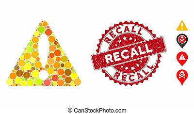 Collage Warning Icon with Textured Recall Stamp
