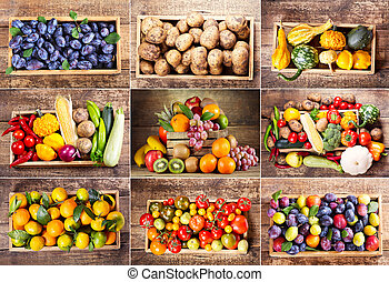 collage, warzywa, różny, owoce