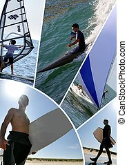 collage, watersports, themed