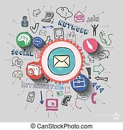 collage, web, enveloppe, achtergrond, iconen