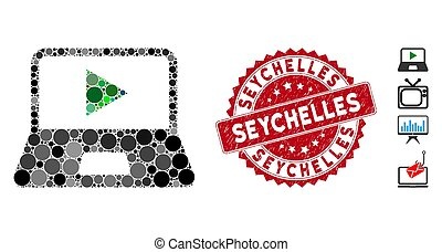 Collage Webcast Laptop Icon with Scratched Seychelles Stamp