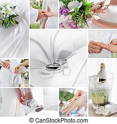 collage, wedding