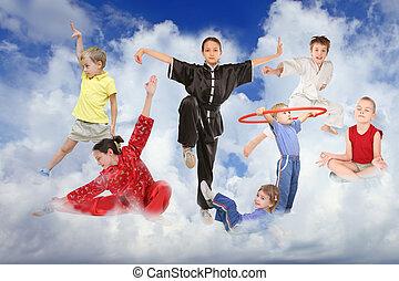 collage, weißes, sport, wolkenhimmel, kinder