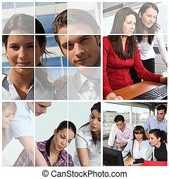 collage, werken, mensen