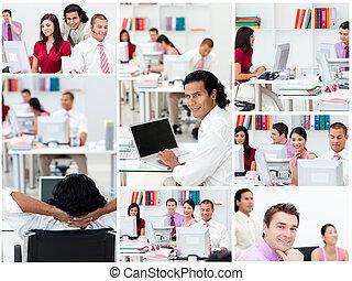 collage, werken, zakenlui