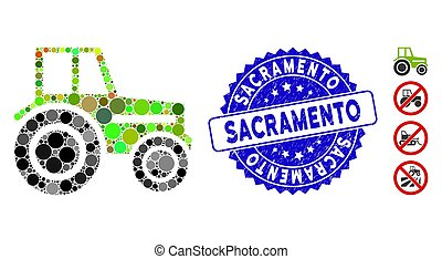 Collage Wheeled Tractor Icon with Textured Sacramento Seal