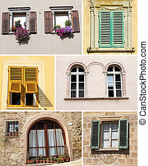 collage, windows, soleggiato