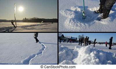 collage winter leisure - Ice surfer sailing on frozen lake....