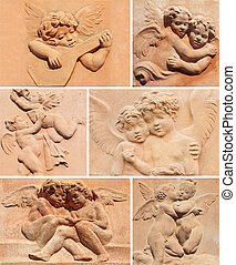 collage with angelic decors in tuscan terracotta from Impruneta