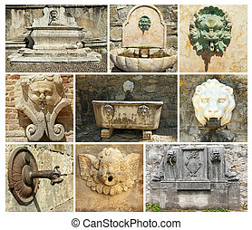 collage with antique  fountains in