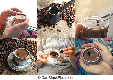 Collage with beans and a cup of coffee