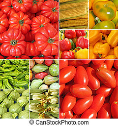 collage with bio vegetables on farmer market