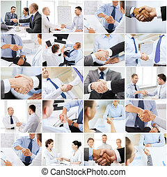 collage with business handshake - business deal and office...