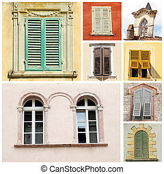 collage with classic old windows in Italy